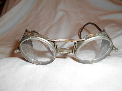 1940s Antique STEAMPUNK welding safety glasses w/screens VGUC