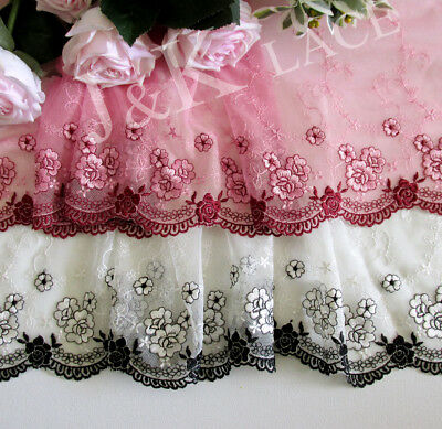 18.5 cm width Pretty Creamy White / Dark Pink Embroidery mesh Lace Trim
