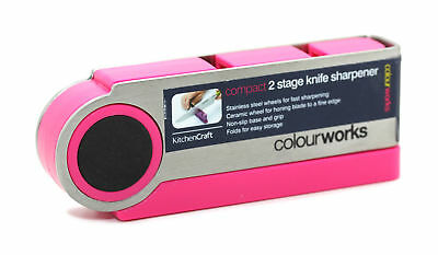 KitchenCraft Colour Works Pink Compact 2 Stage Steel Ceramic Knife Sharpener