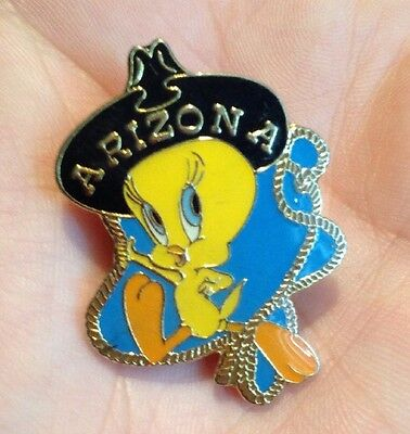 Rare! Tweety Bird Rodeo Western Arizona Wb Warner Bros Vtg Cowboy/girl Pin