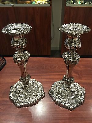 Fine & Rare Pair of Victorian Sterling Silver Candlesticks. Sheffield, c 1900.
