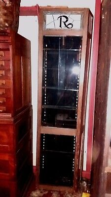 Antique Rx Display Cabinet With Stained Glass Top Piece-7 Feet Tall!