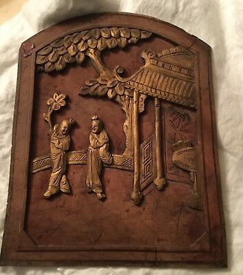 Antique Chinese Hand Carved Relief Wood Architectural Salvage Panel Screen