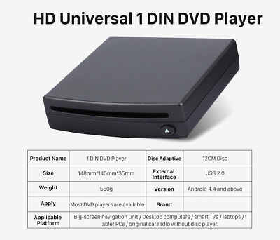 Universal 1 Din External Car DVD Drive Player USB Interface for Android System