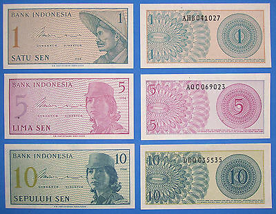 INDONESIA 3 Piece SET,New UNC BANKNOTE  LOT 1964 1,5,10 SEN Asian Paper Currency