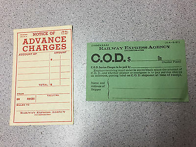 Vintage Railway Express Agency Inc Papers Cod Notice Advance Charges C.o.d.