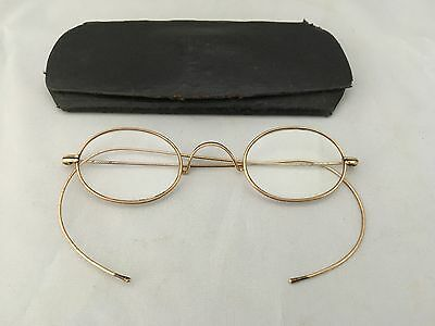 ANTIQUE Edwardian GOLD WIRE OVAL EYE GLASSES SPECTACLES with case 110mm wide