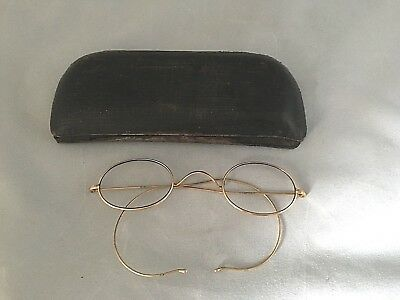 ANTIQUE Edwardian GOLD WIRE OVAL EYE GLASSES SPECTACLES by ES ,105mm wide + case