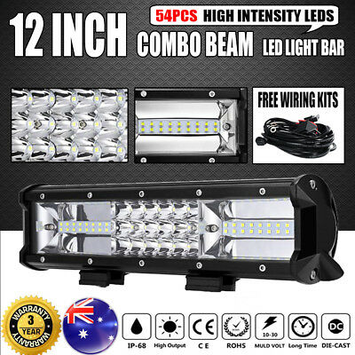 12Inch 648W Philips LED Light Bar Spot Flood Offroad Work Driving Lamp Truck 4WD