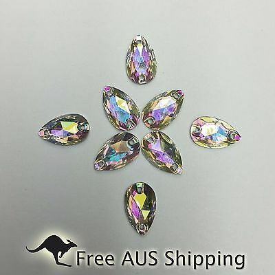 Clear AB Teardrop Acrylic Crystal Flatback Rhinestones 12x7mm - 50pcs Sew On