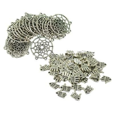 70pcs Retro Tibetan Silver Dream Catcher & Hand Made Palm Connector Findings