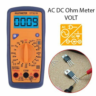 Portable DT321B Digital Multimeter AC/DC Voltage Meter with Blue Backlight YW
