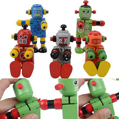 1 Pc Wooden Robot Learning & Educational Kids Early Learning Toy Fad UK