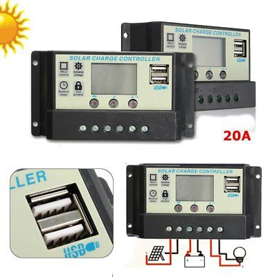 20A MPPT Solar Panel Battery Regulator Charge Controller 12/24V Auto PWM USB  YW