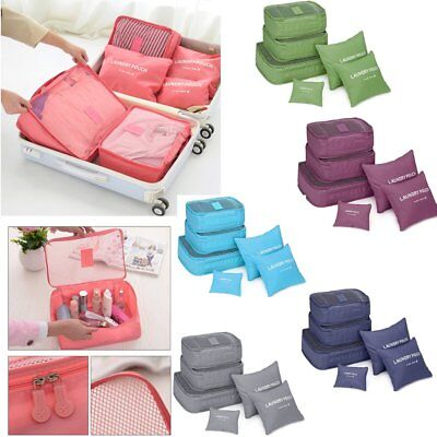 6PCS Travel Storage Bags Clothes Pouch Packing Cube Luggage Organizer WaterproYF