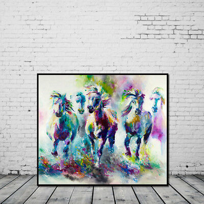 Modern Abstract Oil Painting Colored Horse Canvas Wall Painting Without Frame