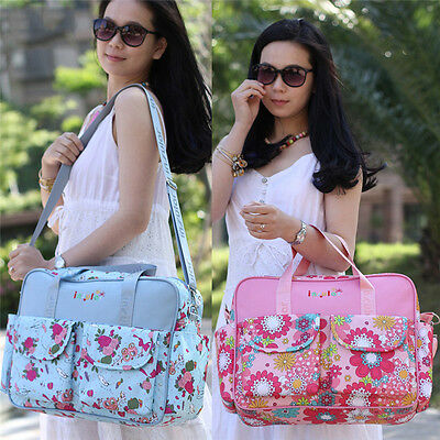 Plus Floral Baby Diaper Nappy Bag Shoulder Travel Bag Rucksack with Changing Pad