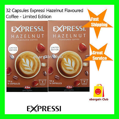 32 Capsules Expressi Coffee Pods Hazelnut Flavoured Twin Pack (2 boxes) ALDI eBC