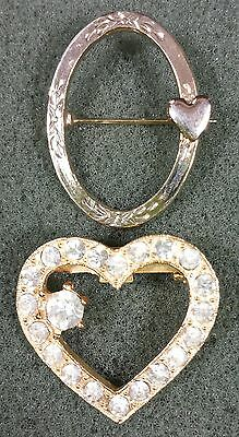Vtg Jewelry LOT OF 2 Brooch Scarf Pin Gold Tone Heart Clear Glass Rhinestone#...