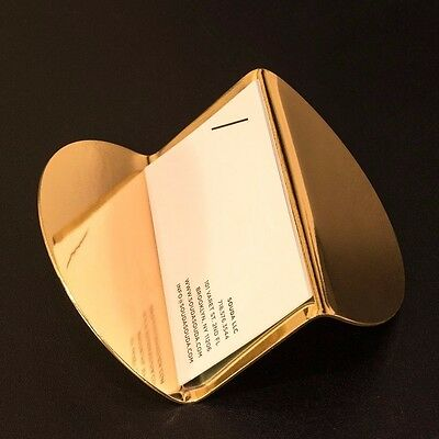 Modern Brass Business Card Holder - SAMPLE, Gold Color, Modern Desk Accessory