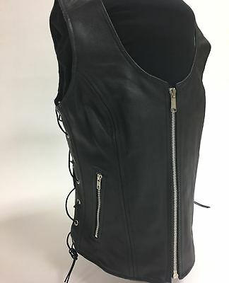 ladies womens solid leather biker motorcycle vest black concealed carry
