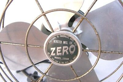 "Vintage Bersted Mfg Zero 1250R 8"" Electric Fan Tabletop Or Wall Mount Runs Great"