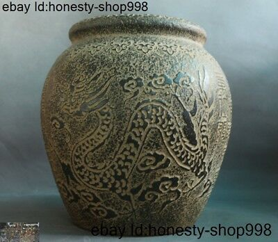 antique Chinese Old jade Hand carved Text word Dragon Phoenix pot Tanks Crock