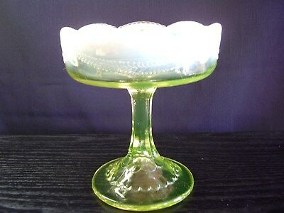 EAPG Jefferson Glass Canary Vaseline Opalescent Swag with Brackets Jelly Compote
