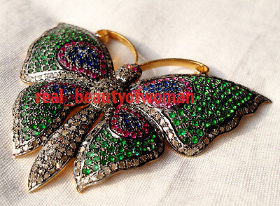 Victorian Vintage 3.16cts Pave Rose Cut Diamond Gemstone Silver Butterfly Brooch