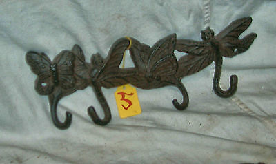 Cast Iron Brown Finish Dragon Fly And Butterfly Coat Hook (4 Hooks)