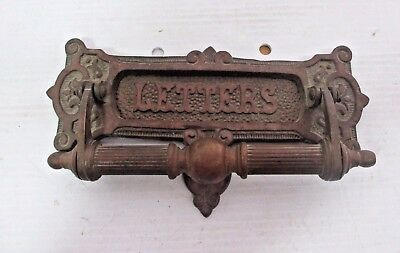 Vintage Mid Century Heavy Ornate Brass Letter Slot & Door Knocker