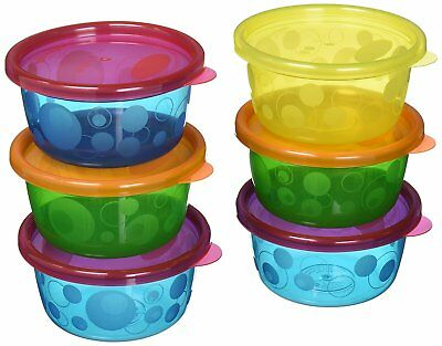 Tomy Large Snack Food Pots With Lids 7 Pack (8 oz/236 m) Storage Freezer Baby