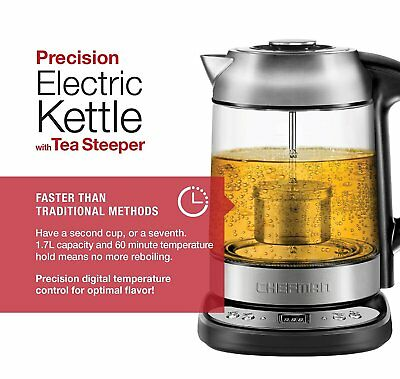 Electric Kettle Precision Temperature 1.7 Liter Stainless Steel & Tea Steeper