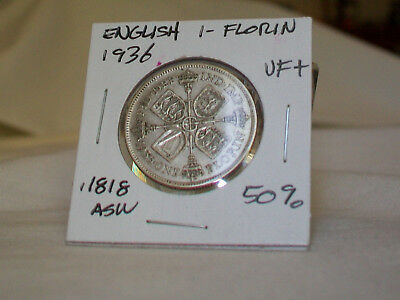 UK, Great Britain  1936  SILVER FLORIN (Two Shillings)  VF +