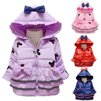 Minnie Mouse Baby Toddler Girl Winter Warm Hooded Coat Outerwear Jacket Clothes