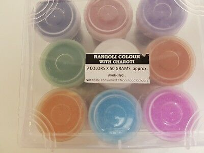 Rangoli Colours With Charoti - For Diwali (9colours x 50grams approx)