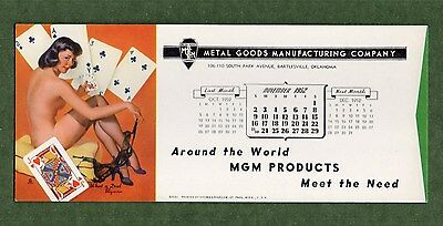 "MGM PRODUCTS Unused Blotter - 3⅞""x9"", Nov 1952, GIL ELVGREN Pin Up, Great Cond"