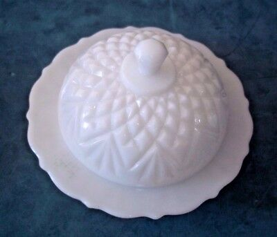 Anchor Hocking Prescut Pineapple Pattern Round Covered Butter Dish Milk Glass