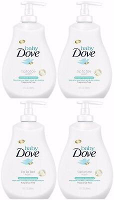 4X Baby Dove Tip to Toe Wash Sensitive Moisture Fragrance Tear free 13oz w/ pump