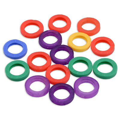 16x Mixed Color Identification Silicone Key Rings Caps Covers Tags Identifier