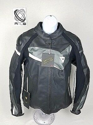 NEW Dainese Perforated Veloster Leather Bike Jacket Black Gray White Motorcycle