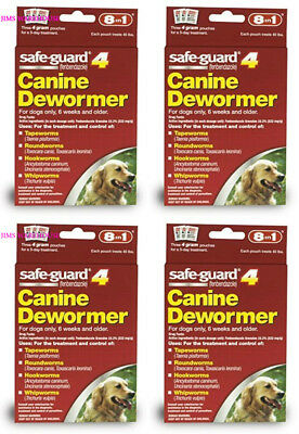4 PK 8in1 Safe Guard Safeguard Dog Dewormer Canine Dogs Large Puppies Pet Wormer