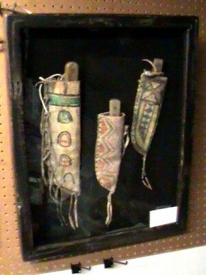 Native American Knife Buffalo Sheath  Bag Shadow Box  History 1890-1910 SB-09