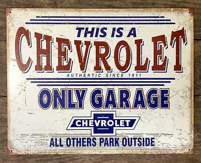 Chevy Only Garage Other Park Outside Metal Tin Sign Auto Car Truck Gift New