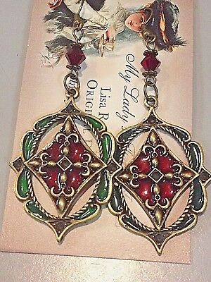 CHRISTMAS HOLIDAY Stained glass look victorian dangle earrings antique gold