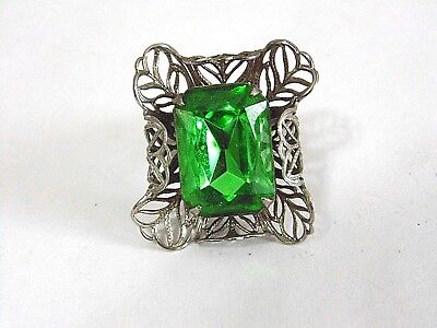 Silver Tone Filigree Setting with Rectangular Green Glass Stone Adjustable Ring