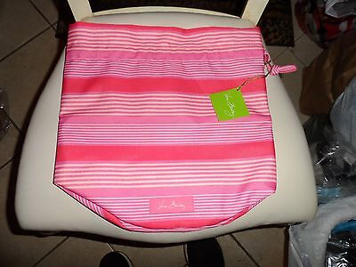 Vera Bradley lighten up Ditty Bag Pink Tonal Stripe pattern NWT