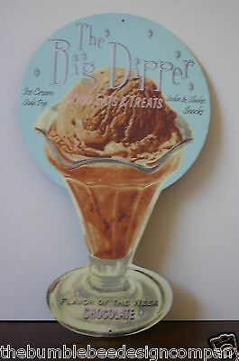 Ice Cream Diner Style The Big Dipper Die Cut Metal Sign Heavy Thick Metal Signs
