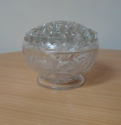 SMALL VINTAGE CUT GLASS FLOWER HOLDER BOWL WITH FLORAL PATTERN-CIRCA 1950's