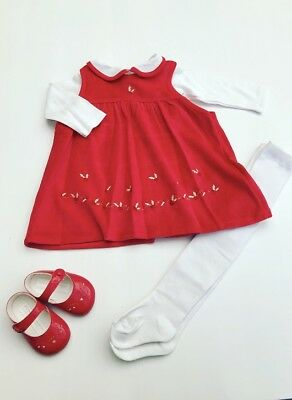 Baby Girls Red Velour Christmas Dress - Traditional Style